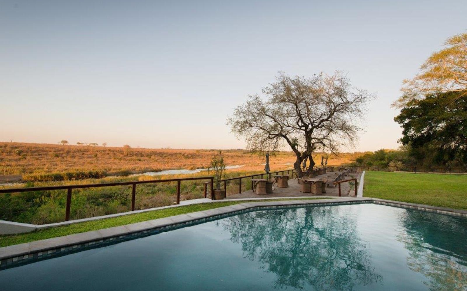 Pool with a view of the Kruger National Park at Bucklers Africa Lodge